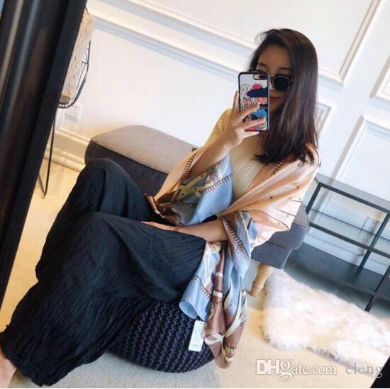 2019 Новая марка шарф женская длинная шаль имитация шелковой ткани осень дизайнер шарф цепи печатных шелковый шарф для женщин 180 * 90 см # 270