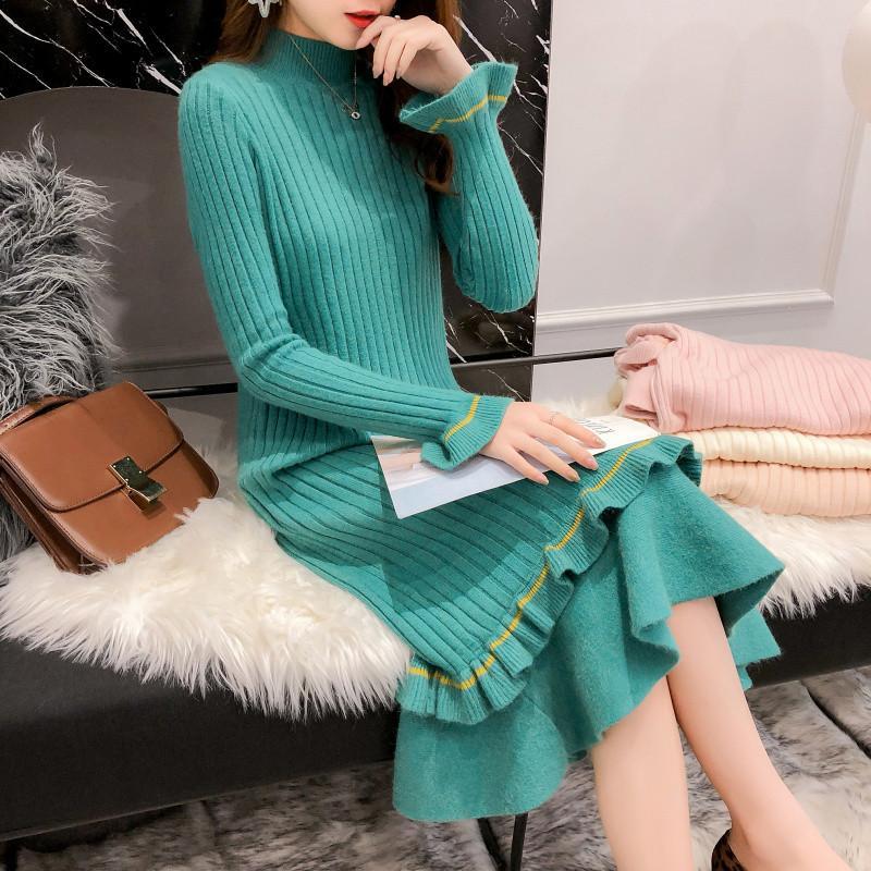 2020 ربيع الخريف الشتاء سميكة الدافئة حك اللباس أنثى مخطط طويل الأكمام البوق الفقرة أسفل سترة تنورة