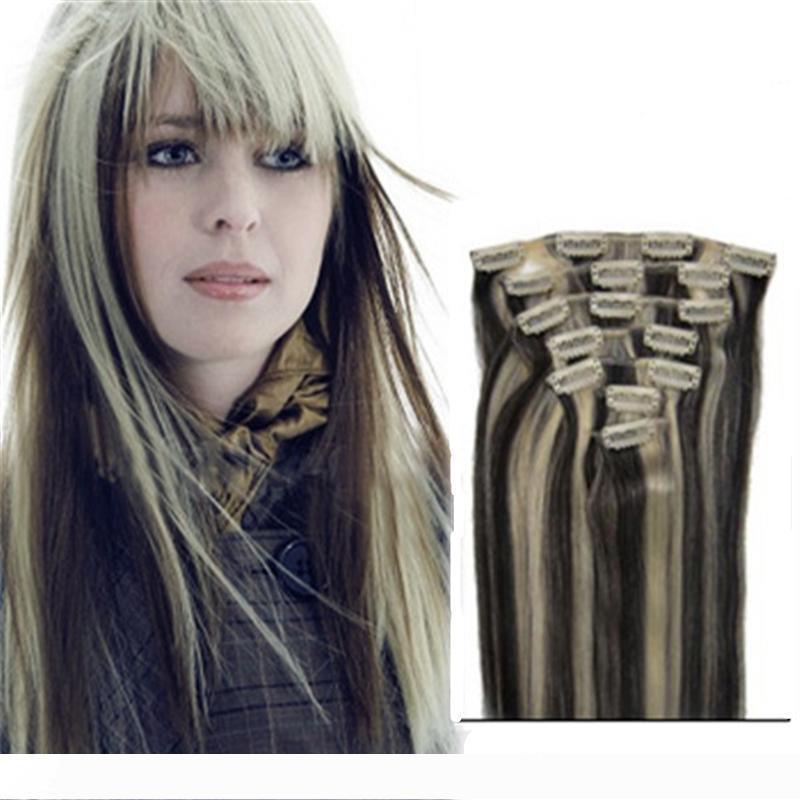 مختلطة 2 الألوان لهجة 100٪ الانسان الشعر مختلطة 1B 613 كليب في الشعر ملحقات 7 الكرات الثابتة الإنسان