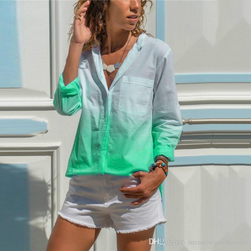 الخريف النسائية على النقيض من لون قميص مكتب سيدة كم طويل أزياء ملابس أنثى مصمم التلبيب الرقبة البلوزات عارضة