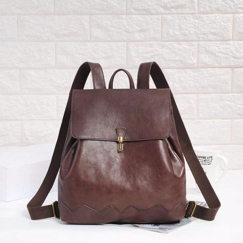 Kadın çantası üst katman inek derisi kadın sırt çantası deri Retro çanta Öğrenci Seyahat Sırt Çantası sonbahar ve kış trendi 2019