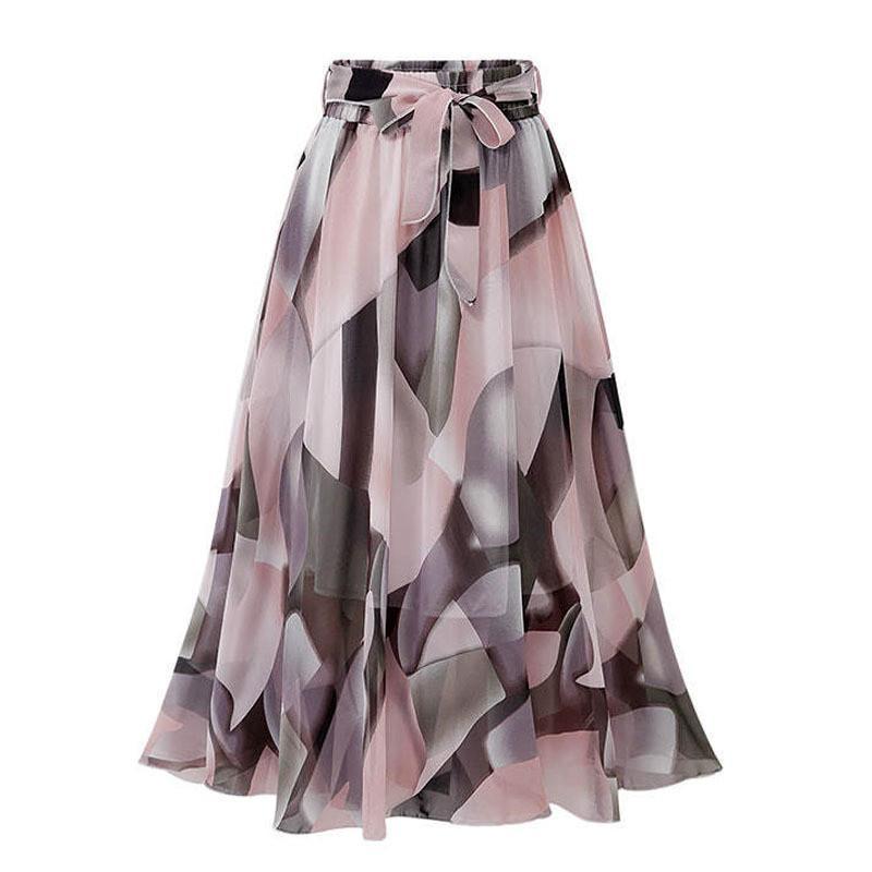 Урожай цветочного принта шифон юбки женских Спринт летней корейское линию Pink Streetwear высокой талия дама миди юбка