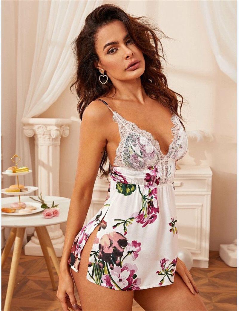 여자 섹시한 낮은 가슴 짧은 잠옷 디자이너 하네스 잠옷 의류 레이스 여성 화이트 원피스 의류