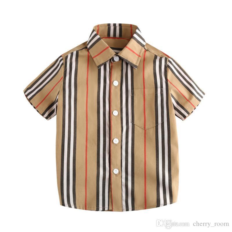 Baby Boys plaid Shirts summer pocket Designer kids clothes plaid lapel shorts sleeve children casual blouse Classical children tops C5395