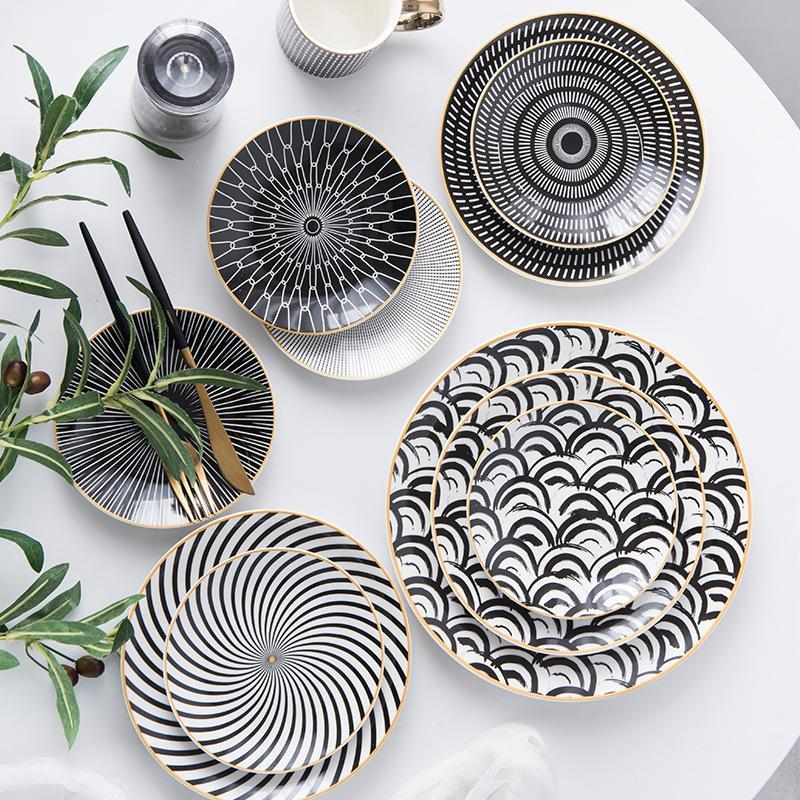 6PC da tavola Phnom Penh Geometria da tavola 6/8/10 pollici ceramica Dinner Plate piatto di porcellana da tavola piatto di dessert torta piatto