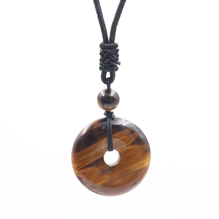 10 pezzi di stile etnico Handmade della corda del tessuto catena collana pendente rotonda Hollow molti colori gioielli della pietra del quarzo