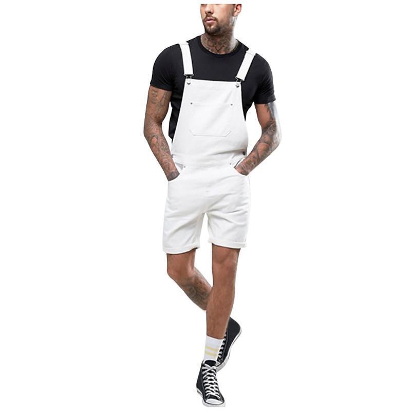 남성 플러스 포켓 화이트 청바지 Jumpsuit Streetwear 전반적인 서스펜터 바지 S-3XL 스키니 진 망 패션 Hombre