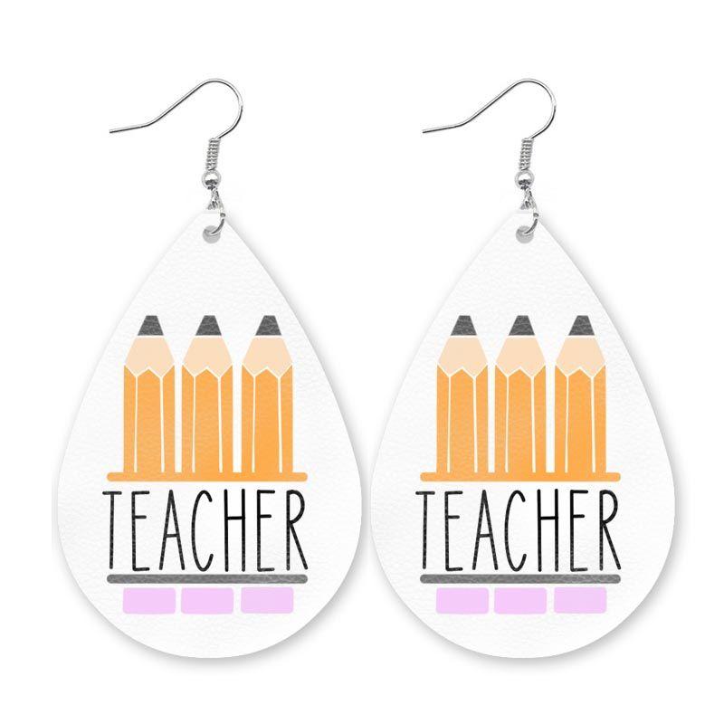CPOP personalizzabile Diy orecchino sveglio Ecopelle per le donne Halloween Bunny Math Teacher orecchini di goccia dell'acqua Accessori Regali Drop Shipping