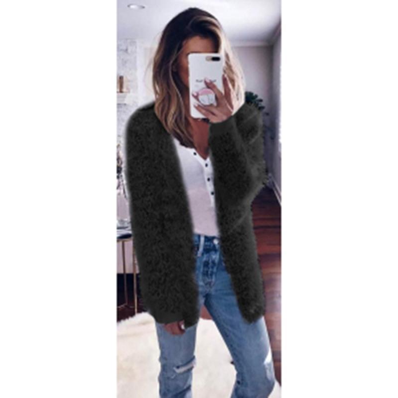 2020 Nouveau Femmes Mode Automne Casual en vrac Cardigan de poche Pull manteau solide avec capuche en maille cachemire Thicker chaud Outwear