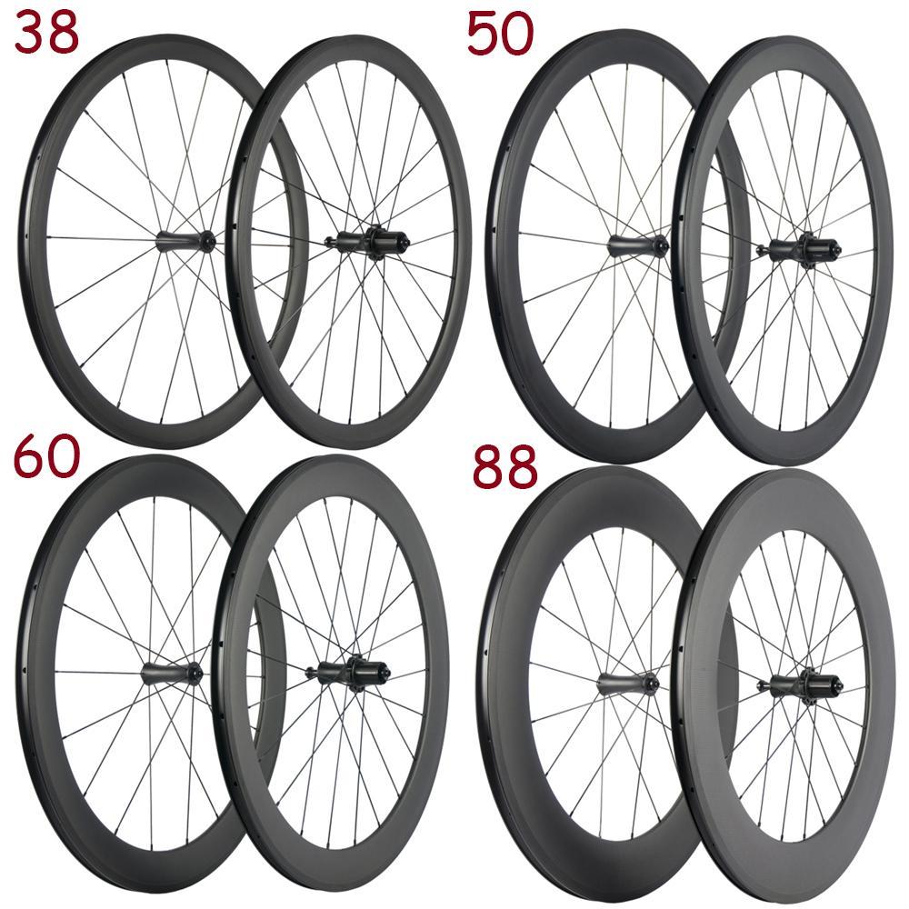 ارتفاع TG 38/50/60 / 88mm والكربون الطريق دراجة العجلات مع R7 المحور 23MM + سطح البازلت الفرامل الكربون عجلات