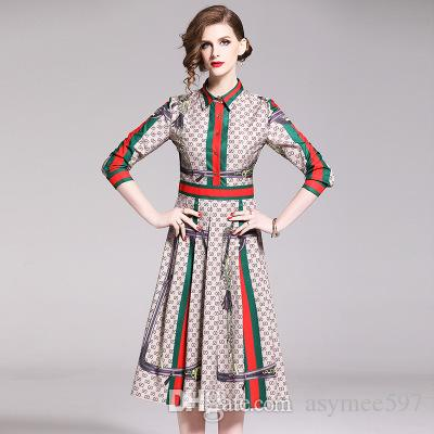 2019 Fashion elegant dresses of Women,Beauty Printing Midi Skirts,Long Sleeve Polo Neck Lady's Dress,Four Colours Choose Casual Wear