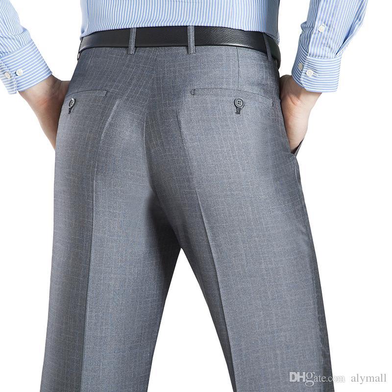 D'été D'affaires Mince Costume Pantalon Pour Hommes 29-50 Printemps Automne Mâle Formelle Stretch Solide En Soie Longue Robe Baggy Bureau Pantalon