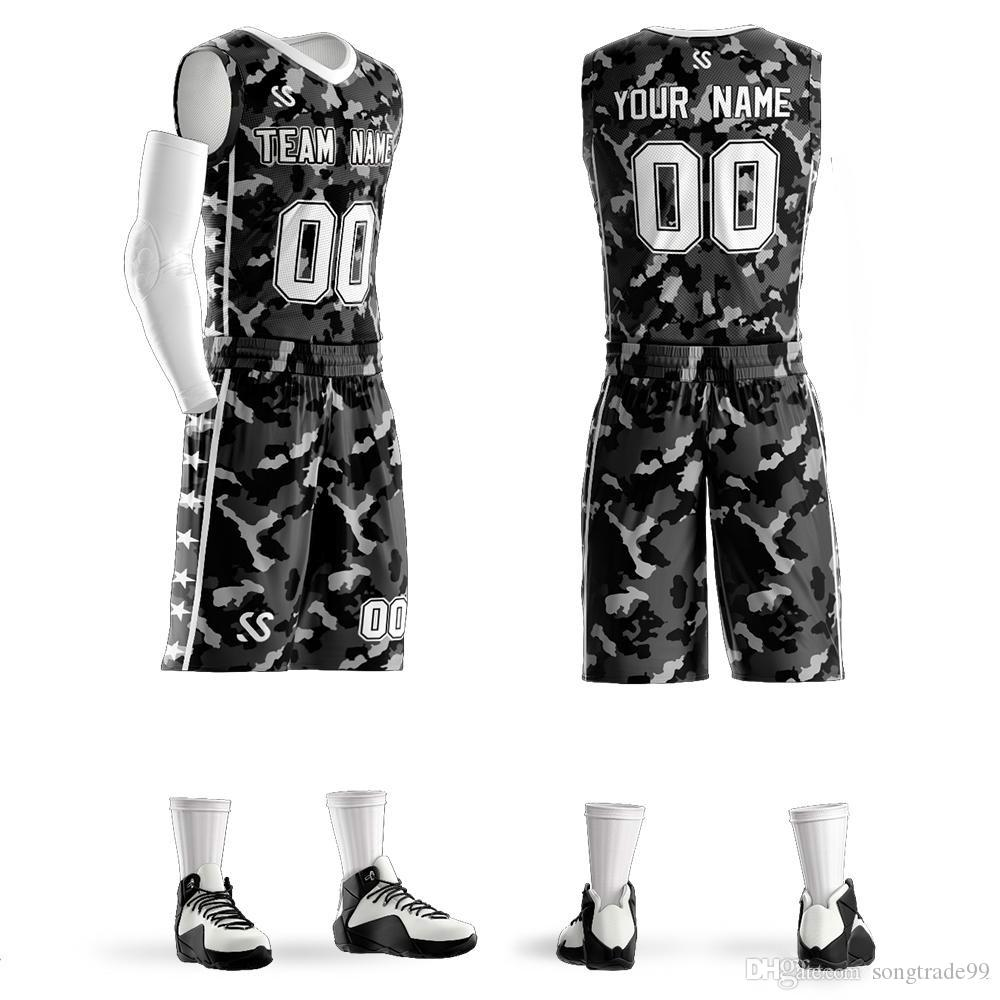 Wholesales Diy Basketball jerseys custom V neck high quality Uniform Basketball Jersey sets Big Size sport sets Free Shipping