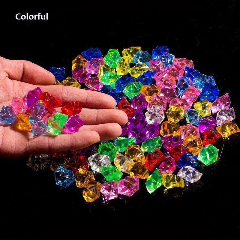 100 قطع اللون الاصطناعي روك أكريليك كريستال البلاستيك الشفاف إناء ديكور حجر الأسماك خزان المنزل ديكورات الزفاف C19041101