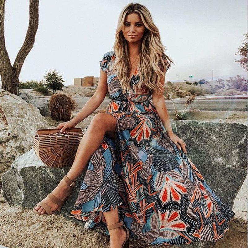 Nuovo V-collo del fiore del bicchierino-manicotto vestito della Boemia 2020 donne di estate della spiaggia della stampa del vestito Night Party sexy elegante Maxi