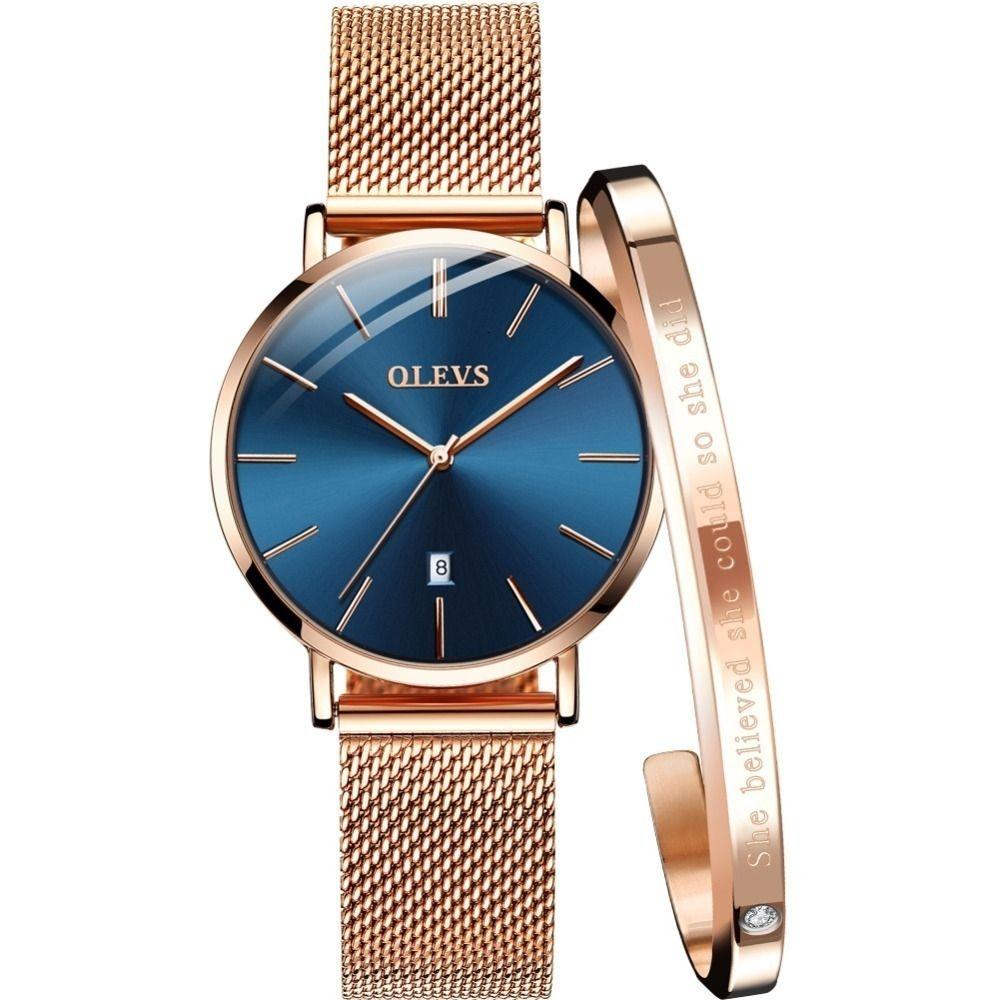 Olevs mujeres de los relojes de oro rosa reloj del acero inoxidable reloj pulsera de cuarzo de las mujeres de las señoras Ultra Thin relojes de pulsera para las mujeres del reloj Y19052001