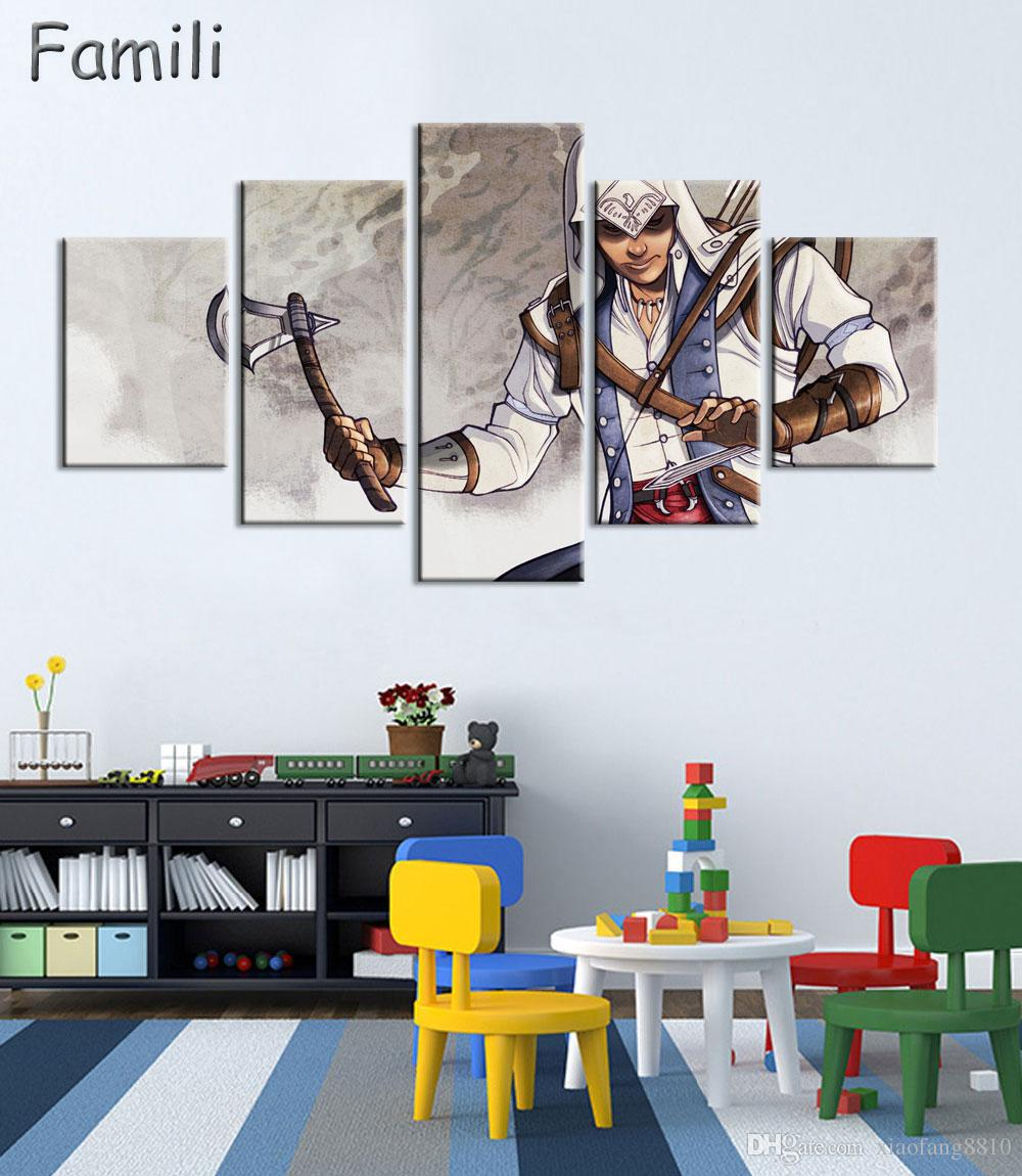 5Panel HD AtFipan Game Poster Assassins Creed Person Oil Painting On The Wall Art Canvas Pictures For Living Room HD Modular Pictures