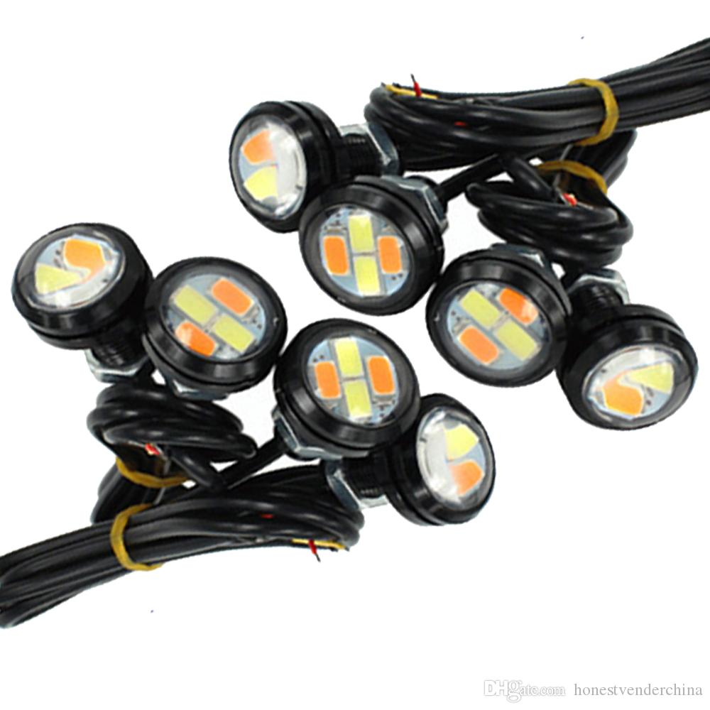 10PCS 23mm 5730 4SMD DRL 이글 아이 화이트 앰버 지그재그 듀얼 컬러 신호의 LED 주간 점등 DC12V 실행십시오
