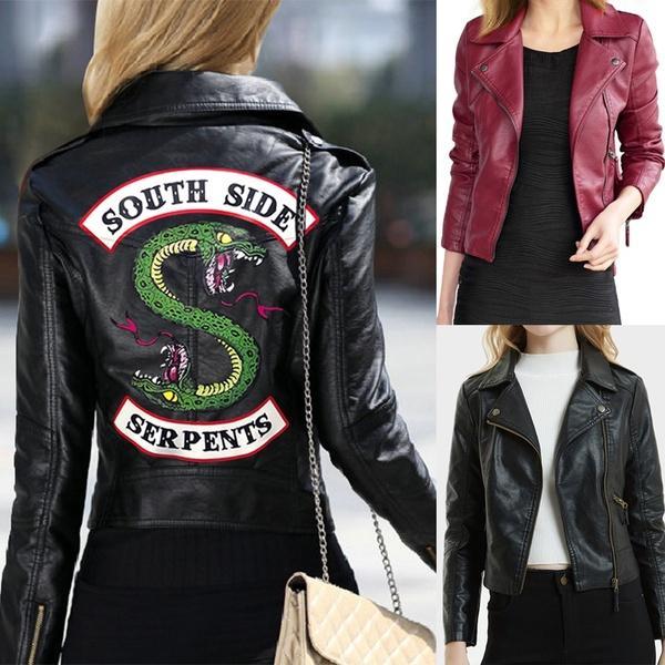 Hot 2019 Nova Primavera Riverside Southside Serpent Kpop Fãs Zipper PU Jaqueta Mulheres Casacos Slim fit Jacket Outwear Roupas