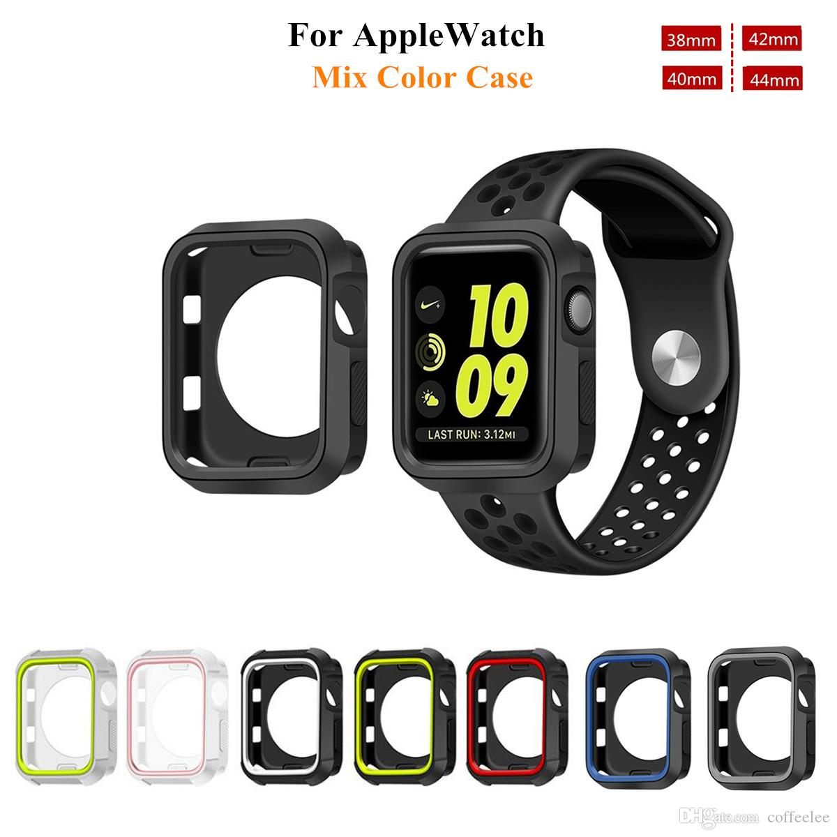 best loved 61af9 f8d6c For Apple Watch 4 Two Color Protective Case Shockproof Heave Duty TPU Cover  Case For Iwatch 38MM 42 MM 40MM 44MM Iwatch Cases Stainless Steel Watch ...