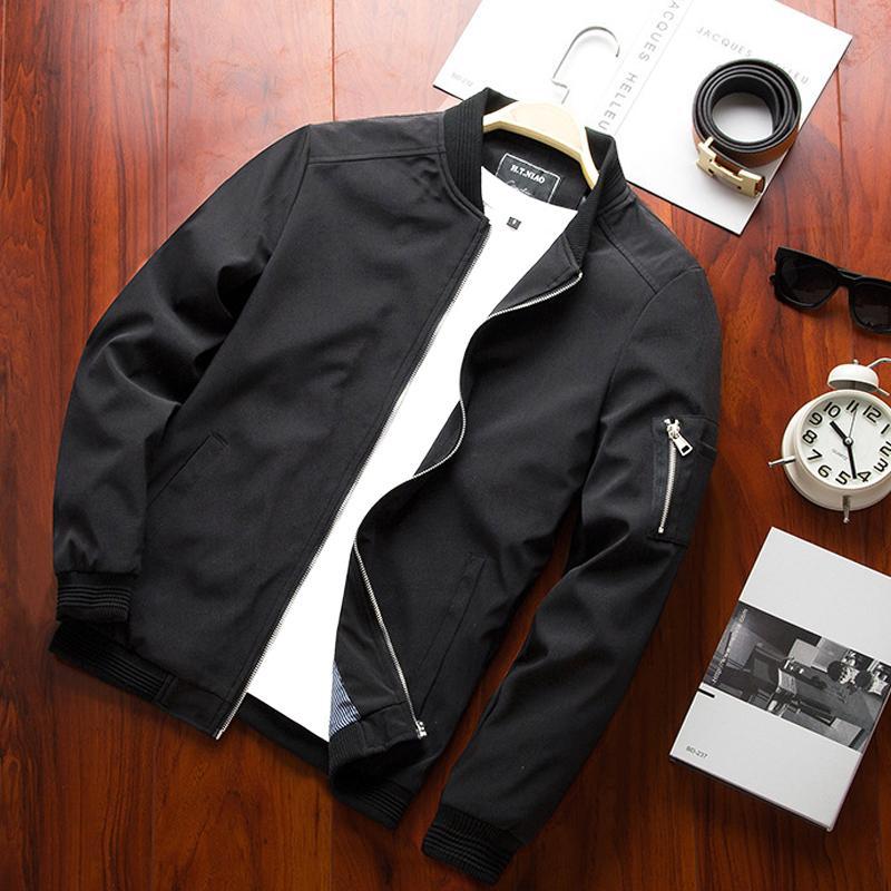 2018 nuovo arrivo mens cappotto solido di modo Primavera Uomo Autunno business Giacche sottile casuale del collare del basamento di marca uomini Bomber