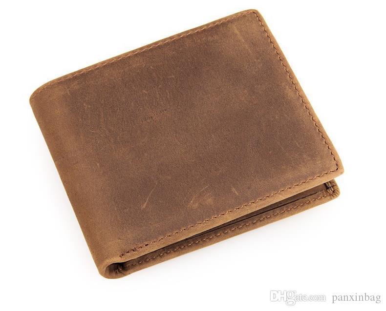 portafogli in pelle semplice classico retrò in pelle di cavallo pazzo portafoglio breve transfrontaliero e-commerce fonte