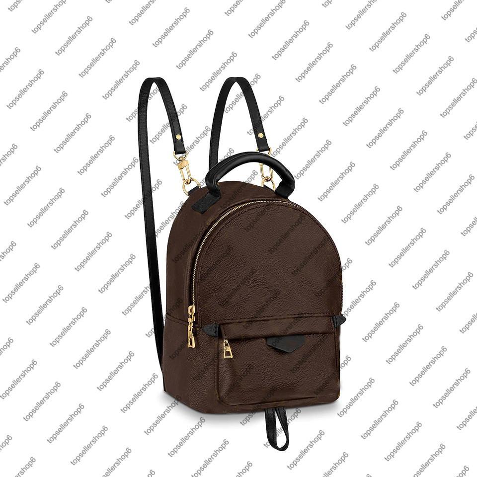 mulheres M44873 M44874 Palm Spring PM MM MINI mochila de lona Calfskin couro pulseira guarnição ombro mochila bolsa saco cruz-corpo 9 cores