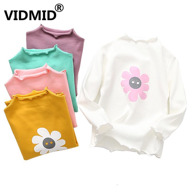 VIDMID Kinder Baumwolle übersteigt T-Shirt Baby-Blumen-T-Shirt mit gestreifter Kind-Herbst-Kleidung der Mädchen Baumwoll-T-Shirts 2001 11MX190916