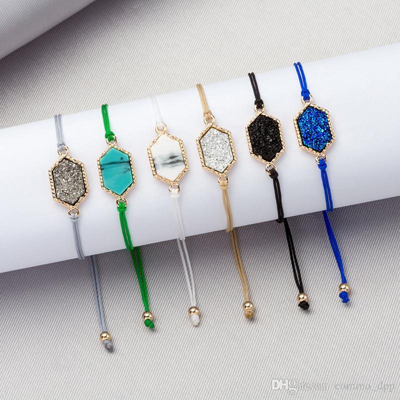 Nuovi braccialetti di pietra Druzy chram Per le donne Moda geometrica pietra naturale regolabile catene di corda Bracciale gioielli uomo in massa