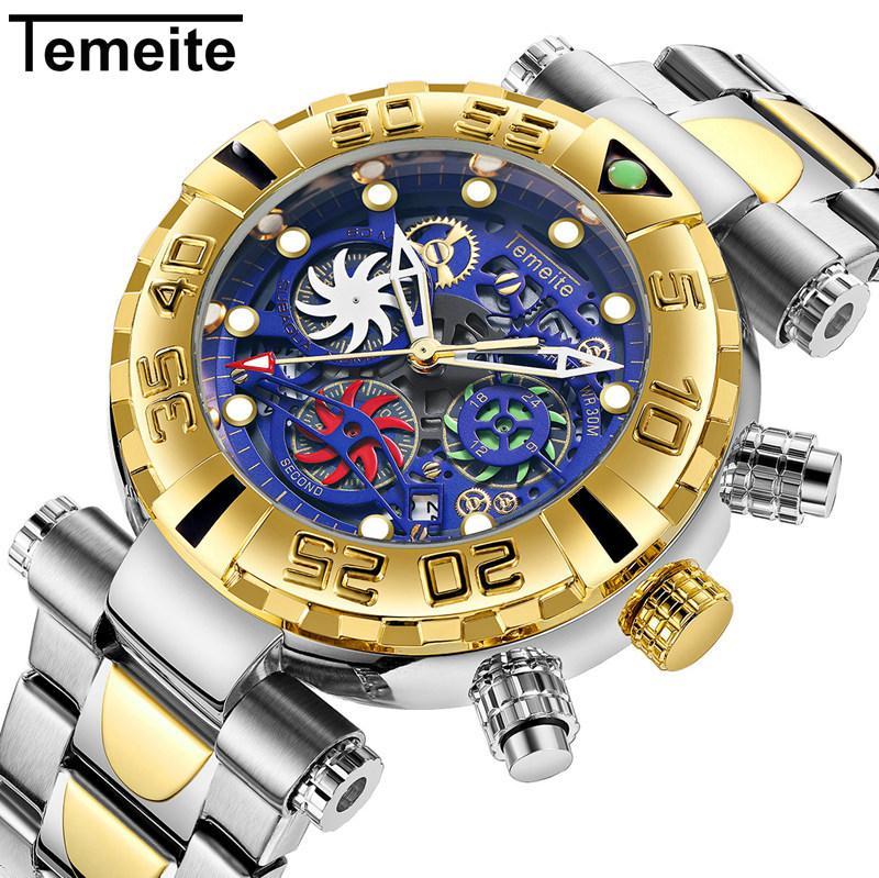 Relógios de Teméite Homens Negócios Casual Creative Creative Creative Quartz Assista à prova d'água Militar relógios de pulso masculino Cronógrafo