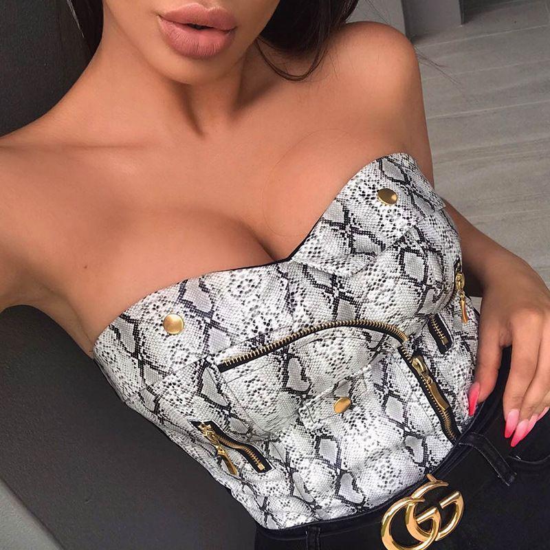 Womens Tee 2019 Spring and Summer New Sexy Snake Print Navel Dress Tight Waist Dresses Nightclub Style Pu Zipper Clothes Crop Tops