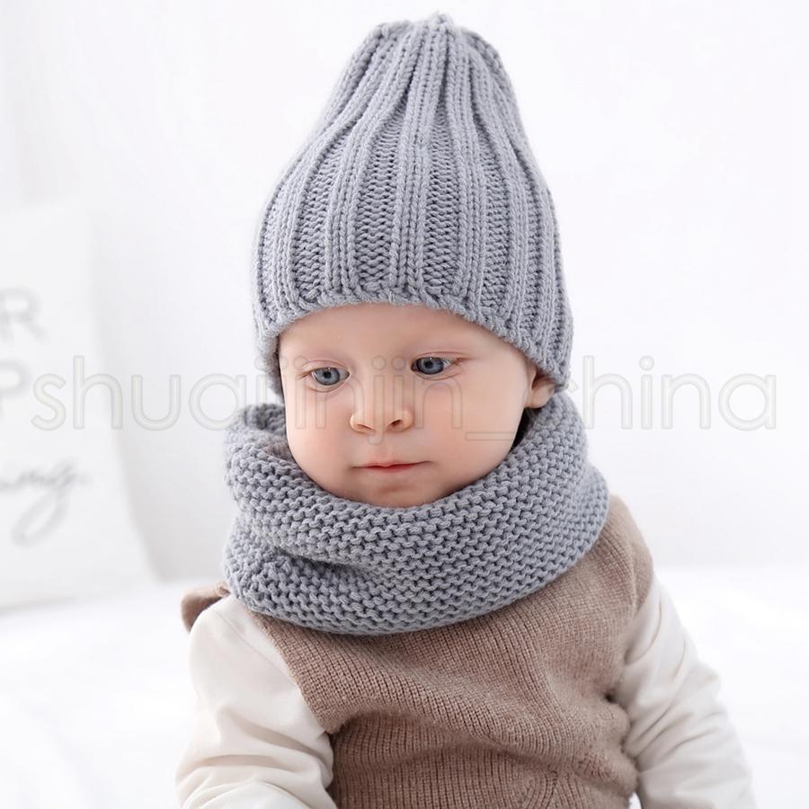 Sciarpa cappello per bambini set 2 pezzi / set moda bambino viaggio all'aperto inverno caldo berretti a maglia berretti per bambini sciarpe morbide TTA1632