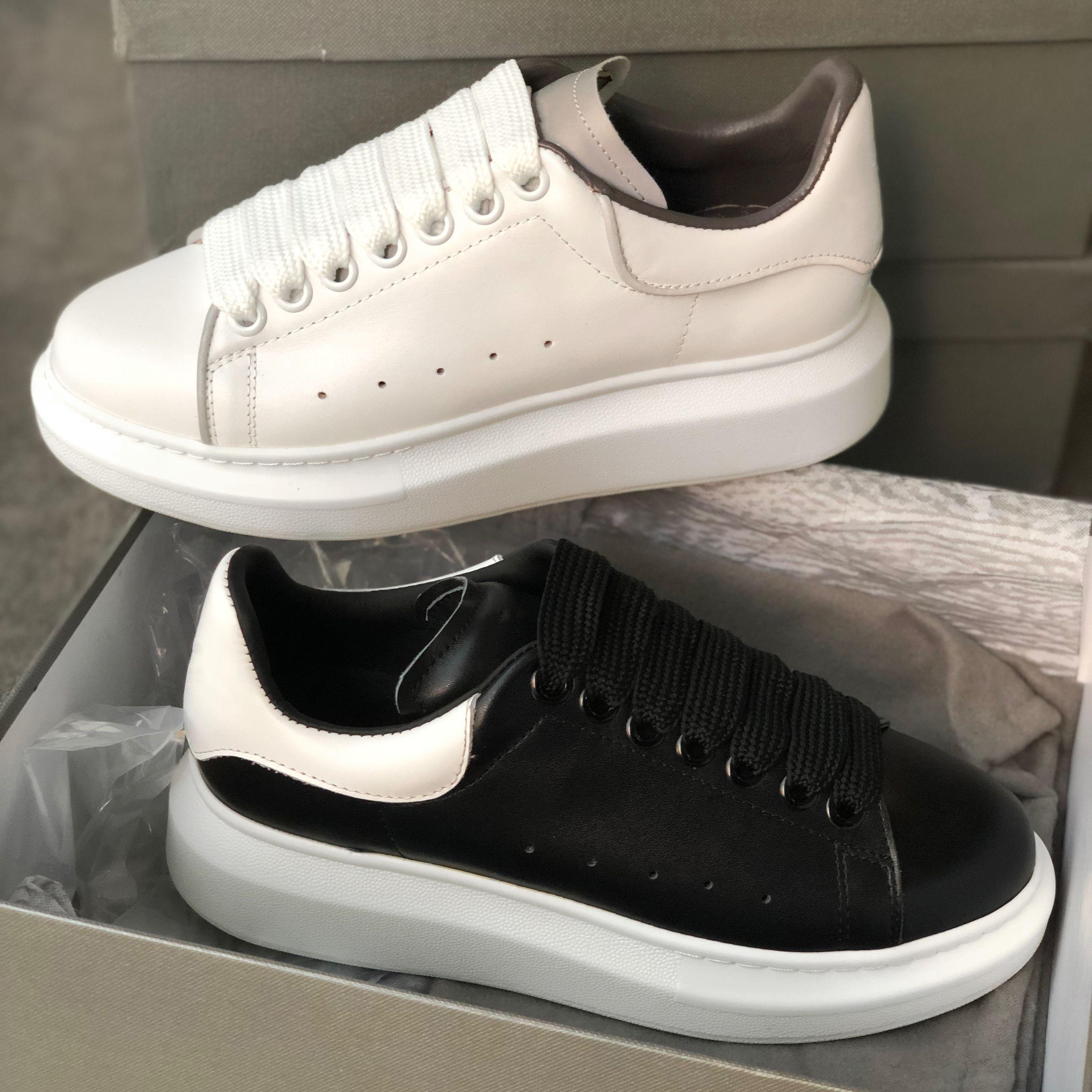 Scarpe in pelle nero bianco riflettente 3M Uomini piattaforma Sneakers Scarpe da ginnastica pattini casuali piani festa di nozze pelle scamosciata di sport scarpe da tennis con la scatola