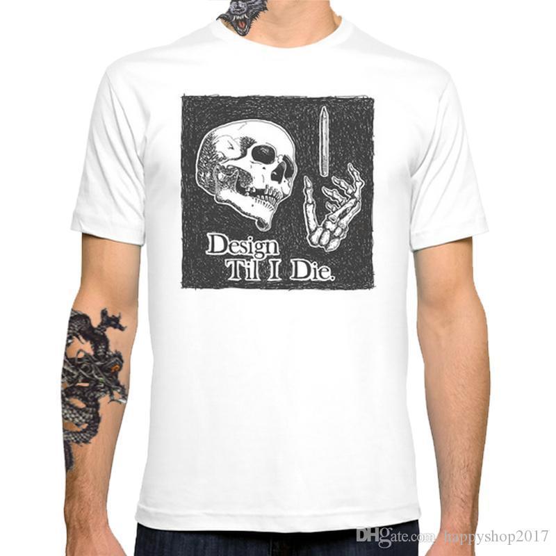 Til I Die skull New Fashion Men's T-shirts Short Sleeve Tshirt Cotton T Shirts Man Clothing Free Shipping