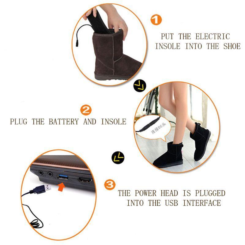 THINKTHENDO hiver USB Charge Pieds électriques chauffants Bottillons Semelles Inserts Sock neige Pied