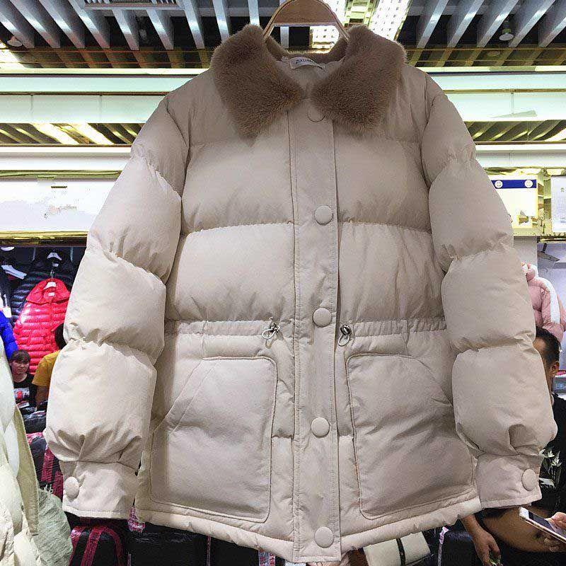 Ofis Lady Office için NiceMix Kadınlar Kürk Yaka Pamuk yastıklı Coat Bayanlar Sıcak Kalın Parkas Kış Coat Kadın Aşağı Ceket