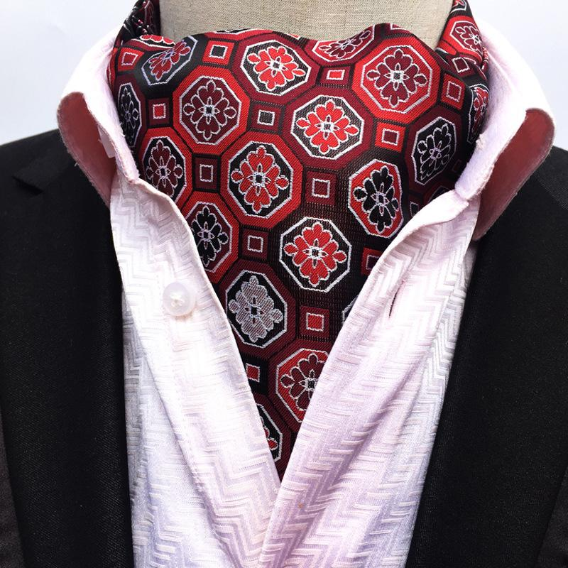 2020 Männer Weinlese-Polka-Punkt-Plaid Hochzeit Formal Cravat Ascot Scrunch Selbst britische Art Gentleman Polyester Silk-Hals-Bindung