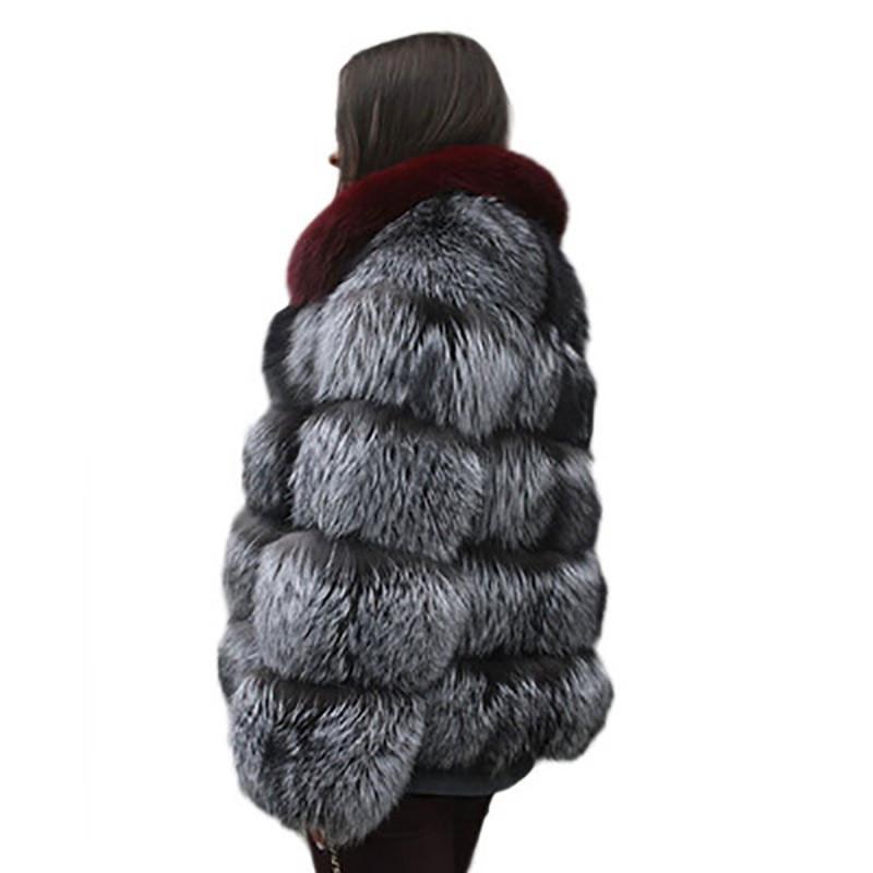 Fashion-искусственного меха женщин конструктора пальто Роскошные Contrast Цвет Зима теплая одежда мода Женская Пушистый Кардиган