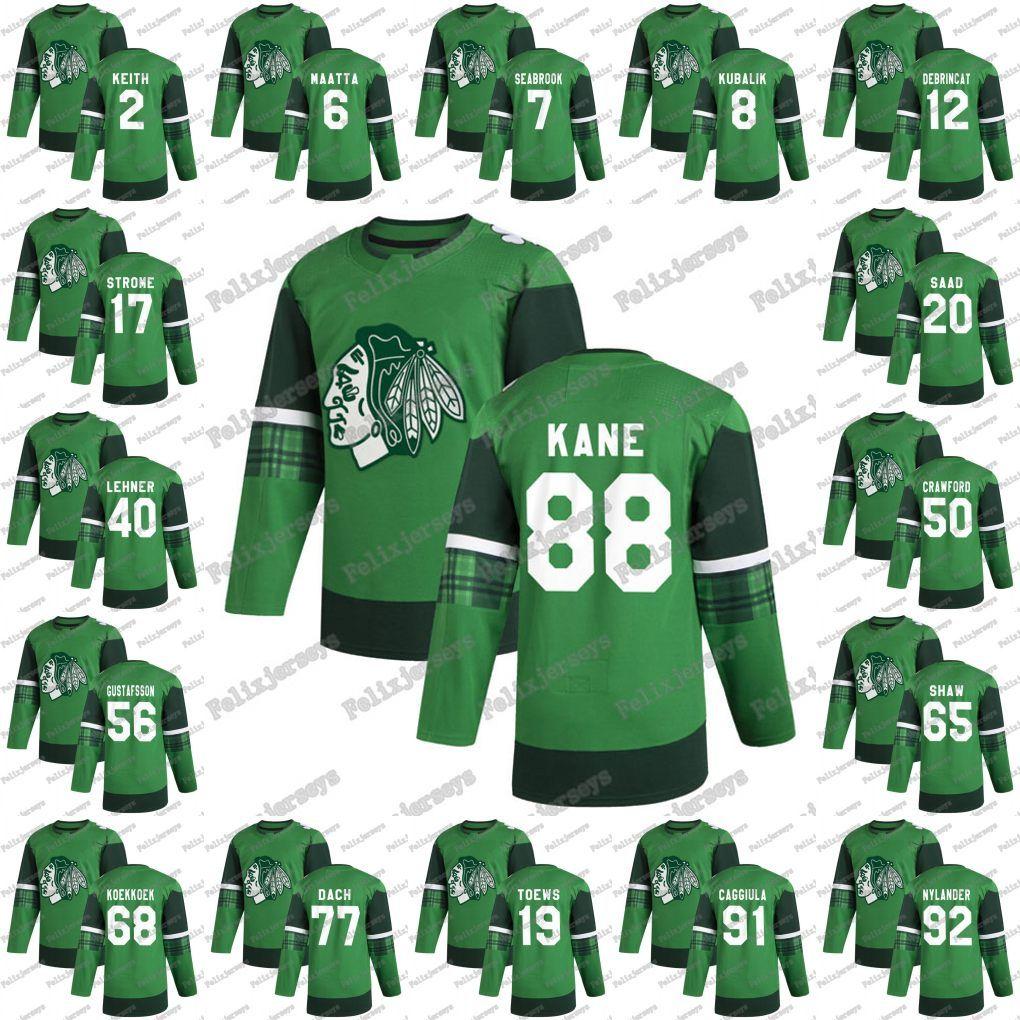 88 Patrick Kane Vert 2020 Jour Blackhawks de Chicago St. Patrick 8 Dominik Kubalik Alex DeBrincat Jonathan Toews Saad Kirby Dach Jersey