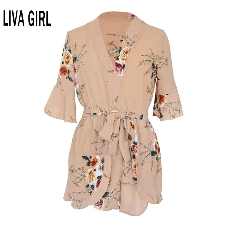 Summer Casual Sexy Lady Backless taille élastique Imprimer Mini Romper globale Jumpsuit femmes plissée Salopette Salopette Salopette T200704