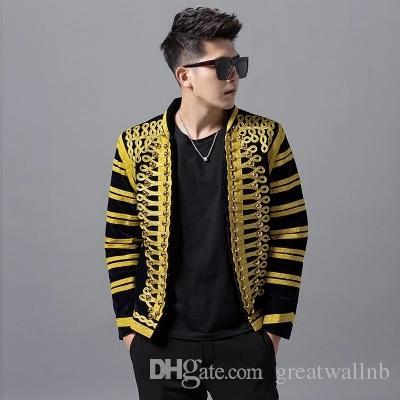 Freeship mens lüks siyah tel altın nakış aplike halı gösteren ceket / stüdyo / sahne performansı ceket / ASYA BOYUTU