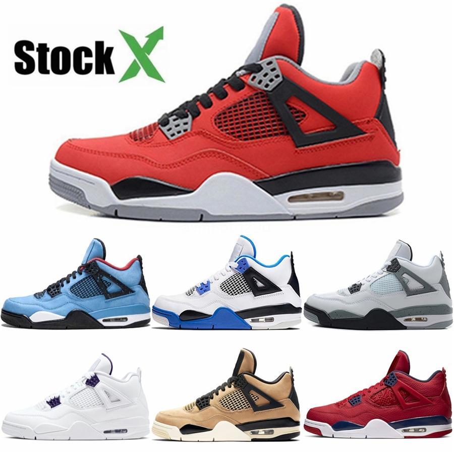 4S Bred 2020 What The Basketball Shoes Singles 30 ° anniversario del laser Silt Red Splatter Giorno Lightninx Pure denaro Oreo Men 4 Sneakers 40-47 # 6