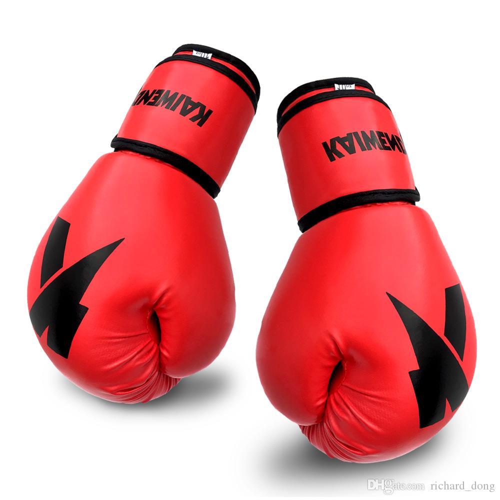 Pelle guantoni da boxe Rosso Nero Oro Rosa Traning 4 once 16 once MMA PU Box per le donne Bambino Uomo di sport Sacchetto pesante di Muay Thai logo personalizzato scatola di guanti