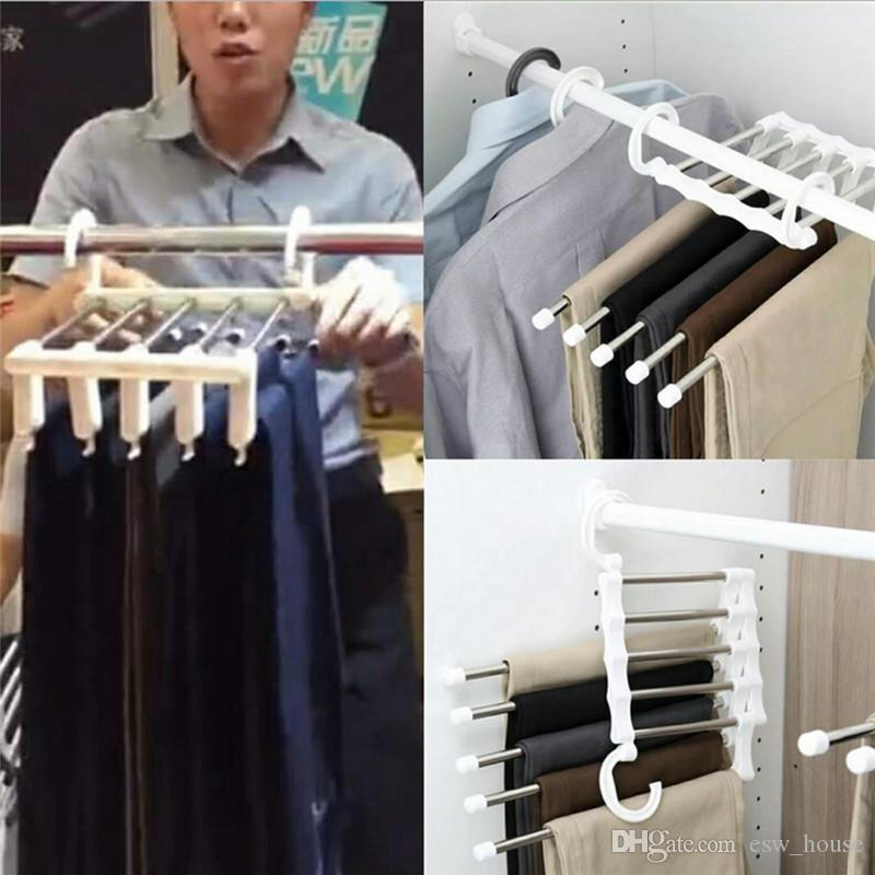 Sihirli Elbise Askısı Paslanmaz Çelik Tüp Pantolon Raf Geri Çekilebilir Elbise Pantolon Tutucu Depolama Askı Ev Organizatör
