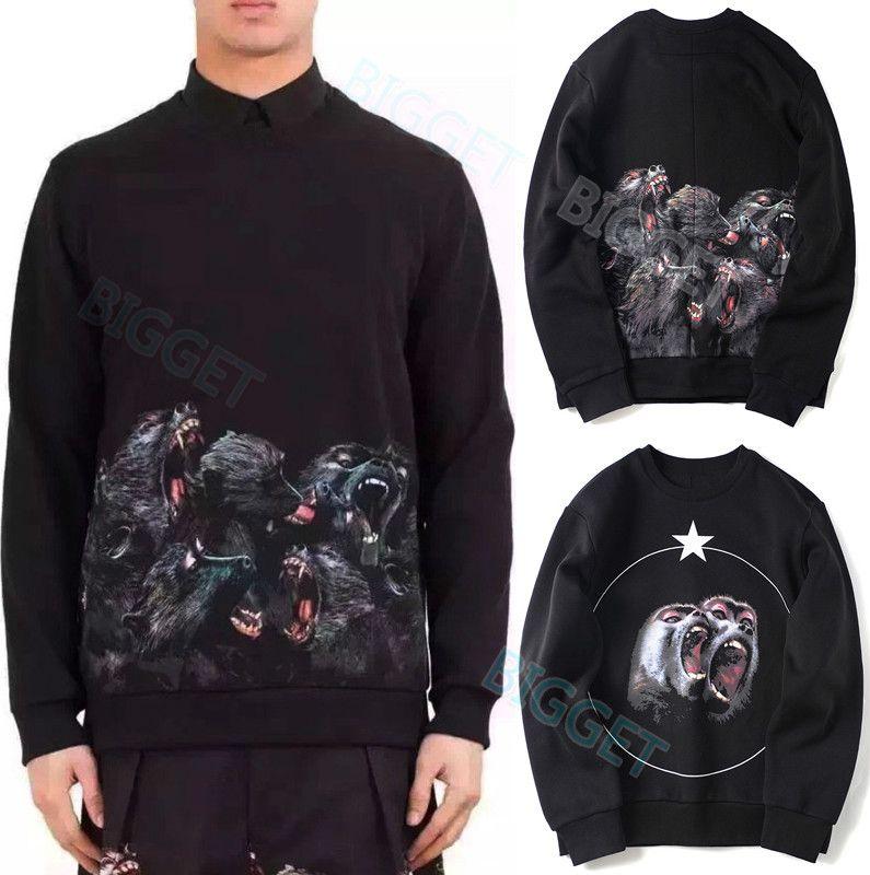 Männer Fleece Sweatshirt mit gedrucktem Monkey Brothers Casual Baumwolle dicken Hoodie Sweat Pullover Wear für Mann