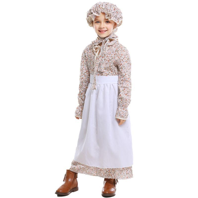 Cosplay Girls Halloween Wolf Grandma Costume Dress Idyllic Farm Apron Maid Cosplay Cotton Fancy Dress Grandmother Costume