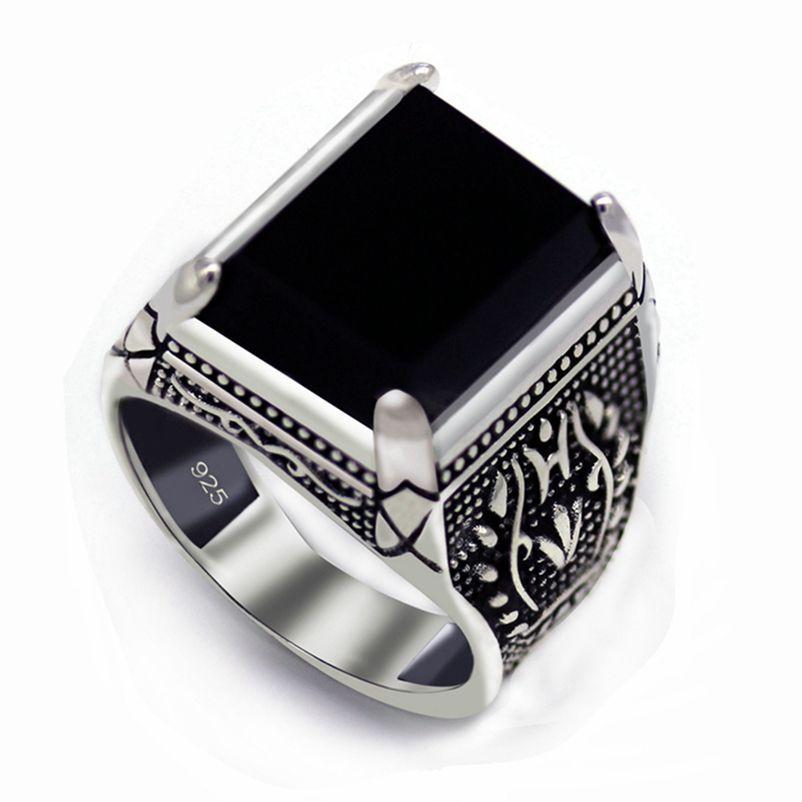SHUNXUZE Moda Zaręczyny Wedding Black Agate 925 Sterling Silver Finger Pierścionki Akcesoria Biżuteria dla mężczyzn S-3810 Rozmiar 7 8 9 10 11 12 13