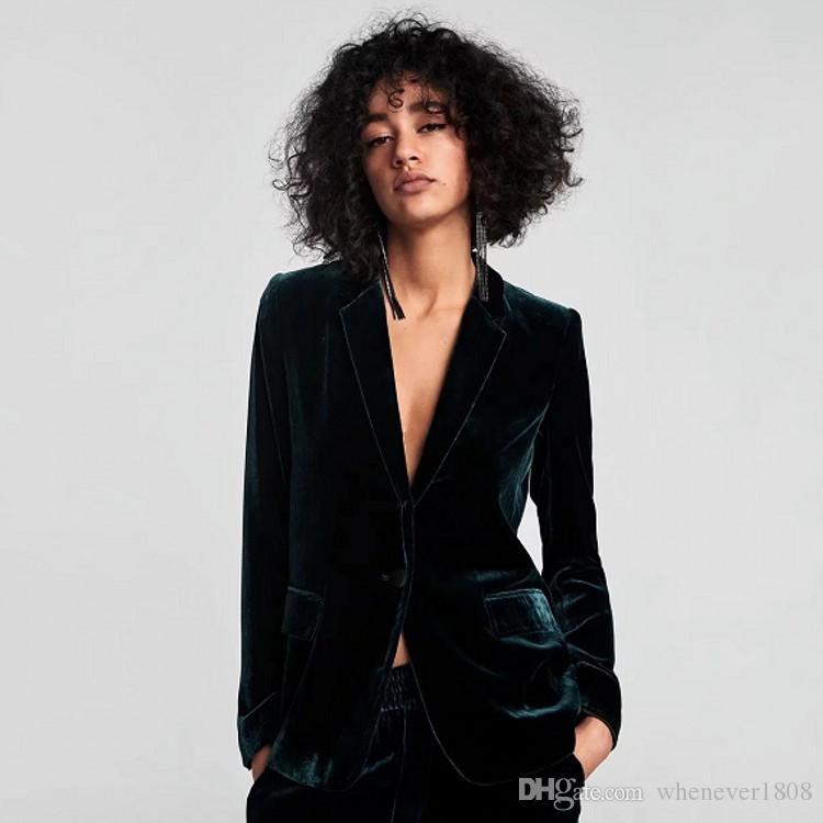 New Sexy Mulheres Velour Suit Brasão Botão V Neck Individual Blazer Casual skinny slim Mulheres Roupa Para Outono Inverno P729