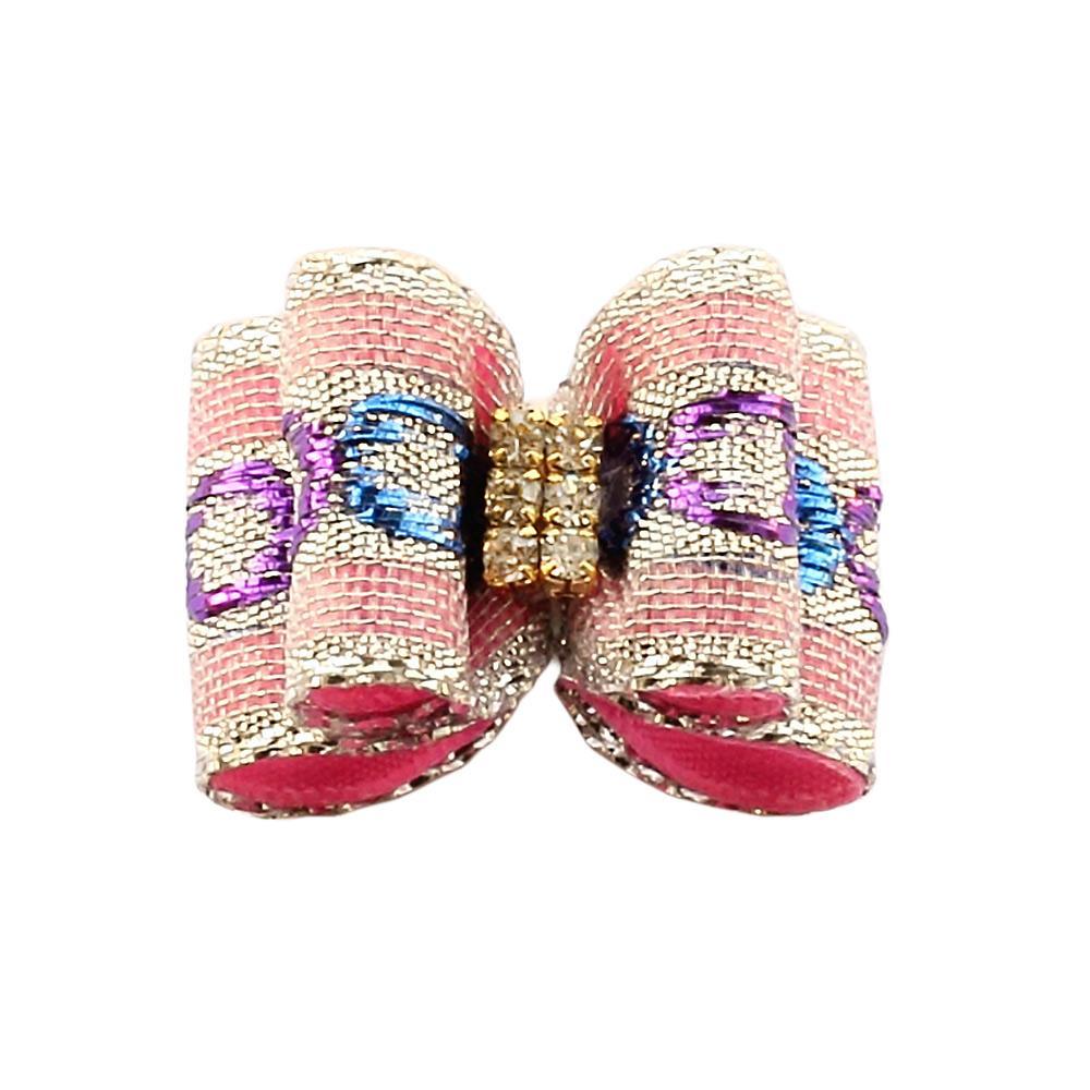 50pcs main rose princesse chien arc ruban ruban 6021016 chiot accessoires fournitures gros chien toilettage arcs