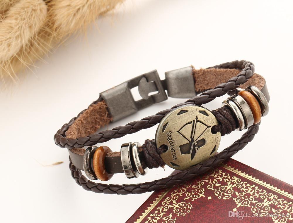 Bracciali fascini per il braccialetto di cuoio degli uomini delle donne punk dei braccialetti d'oro della testa del leone Banda regolabile Cuff